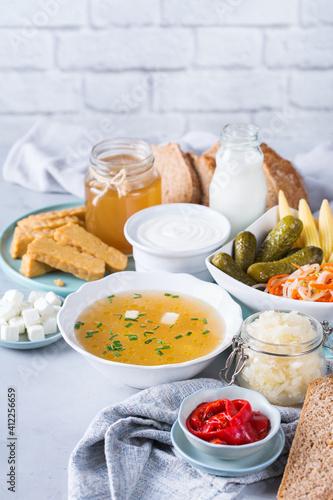 Fototapeta Postbiotics, probiotics, functional food, fermented, good for gut, bowel health obraz