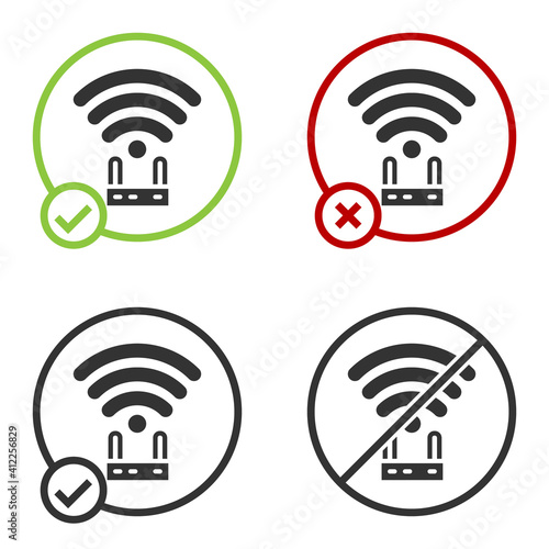 Canvas-taulu Black Router and wi-fi signal icon isolated on white background