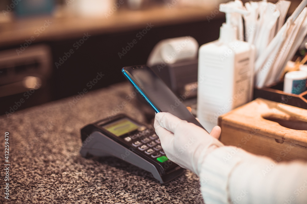 Fototapeta Contactless payments is the best option to keep social distance