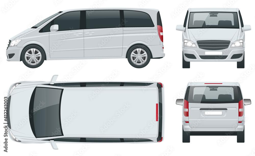 Fototapeta Electric Minivan with Premium Touches, Passenger Van or Minivan Car vector template on white background. MPV, SUV, 5-door minivan car. View front, rear, side, top.