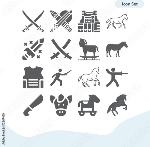 Canvastavla Simple set of cavalry related filled icons.