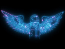Neon Glow Racing Man With Wings Illustration