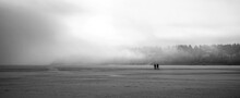 People Walking On Snow Covered Landscape During Foggy Weather