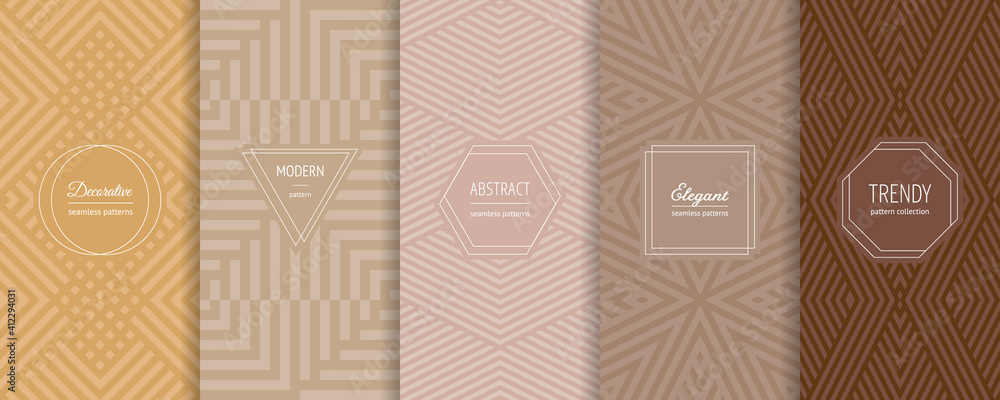 Fototapeta Vector abstract geometric seamless patterns collection. Set of stylish backgrounds with elegant minimal labels. Abstract modern line ornament textures. Trendy pastel color. Design for print, decor - obraz na płótnie