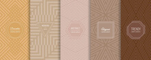 Vector Abstract Geometric Seamless Patterns Collection. Set Of Stylish Backgrounds With Elegant Minimal Labels. Abstract Modern Line Ornament Textures. Trendy Pastel Color. Design For Print, Decor