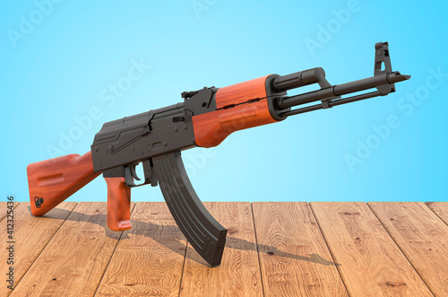 Assault rifle on the wooden planks, 3D rendering Fototapet
