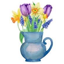 A Bouquet Of Spring Flowers In A Blue Vase. Watercolour. The Images Are Hand-drawn And Isolated On A White Background.