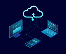 Vector Of A Computer And Mobile Devices Connected To Cloud Server Service