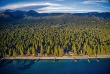 Aerial View Of The Vacation Community Of Incline Village On Lake Tahoe In Winter