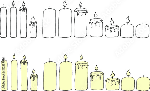 Fototapeta Set of candles сan be used as a template. Graphics and fill