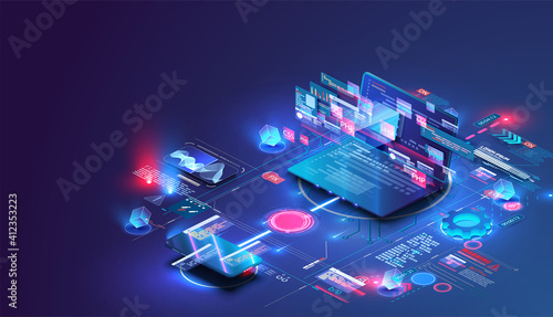 Fototapeta Application of Smartphone with business graph and analytics data on isometric mobile phone. Analysis trends and software development coding process concept. Programming, testing cross platform code obraz