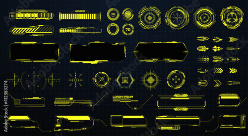 Obraz GUI, HUD, UI futuristic elements set. Sci Fi  Holographic hud user interface elements, high tech bars and frames. Isolated arrows, pointers, loading, circles, sight, callout bar labels. Vector  - fototapety do salonu