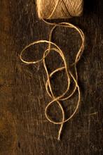 Hemp Twine On Rustic Wood