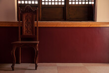 Interior Of A Traditional,  Vintage And Old Fashion Ancestral House With Locally Hand Made Chair And Windows
