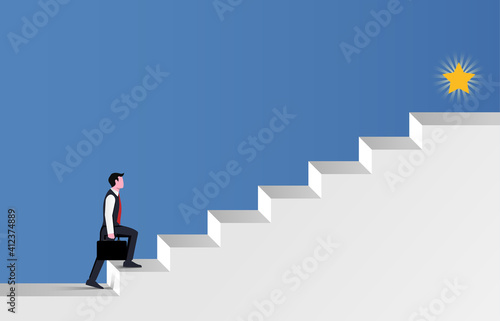 Businessman walking the stair for success symbol. - fototapety na wymiar