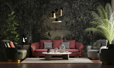 Modern living room design and wallpaper decoration for tropical plant leaves and sofas board with table, lighting and Landscape wallpaper in classic old style