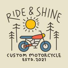 Biker Nature Line Badge Patch Pin Graphic Illustration Vector Art T-shirt Design