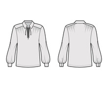 Pirate Blouse Technical Fashion Illustration With Bouffant Long Sleeves, Poet Lacing Collar, Oversized, Tunic Length. Flat Apparel Top Template Front, Back, Grey Color. Women, Men Unisex CAD Mockup