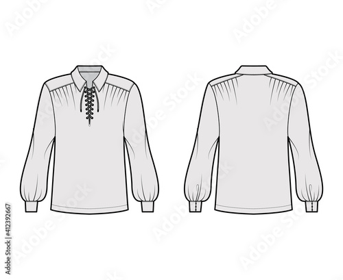 Obraz Pirate blouse technical fashion illustration with bouffant long sleeves, poet lacing collar, oversized, tunic length. Flat apparel top template front, back, grey color. Women, men unisex CAD mockup - fototapety do salonu