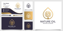 Nature Oil Logo With Modern Tree Concept And Business Card Design Premium Vector