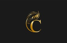 Golden Letter C Typography FLourishes Rounded Logogram Beauty Logo