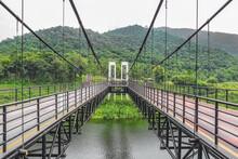 Suspension Bridge At Mae Kuang Udom Thara Dam, Chiang Mai Thailand.