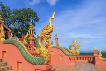 The Naga Of Wat Phra That Doi Phra Chan One Of The Most Beautiful Buddhist Temple On The Hills In Lampang Province Of Thailand