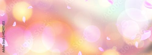 Obraz 桜の花びらが舞う春を感じる背景、春の広告やイベント、バナーデザイン、セールチラシ - fototapety do salonu
