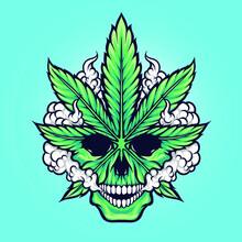 Cannabis Marijuana Weed Leaf Skull Vector