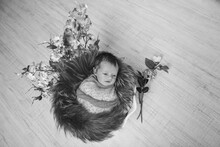 Portrait Of A Sleeping Newborn Baby. Imitation Of A Baby In The Womb. Flowers As Decorations, Interior. 8 March
