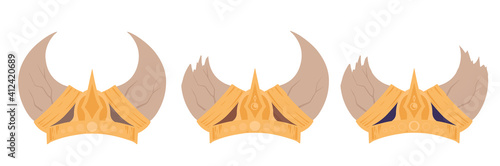 Photo Set of cartoon viking helmets with horns