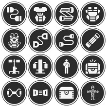 16 Pack Of Rib Cage  Filled Web Icons Set