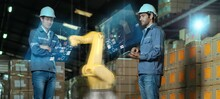 Engineer Presenting Machine Engine With Virtual Reality Augmented Reality Technology, Smart Factory Industry 4.0 Robot Arm Machine Control Futuristic Industry Ideas.