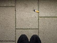 Finished Cigarette Stub On Floor, Concept: Final Cigarette
