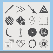 Simple Set Of Narrow Related Filled Icons.