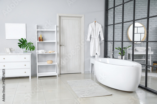 Fototapeta Stylish interior of modern bathroom obraz
