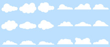 Clouds, Large Set Of Clouds Isolated On A Light Blue Background. Vector, Cartoon Illustration. Vector.