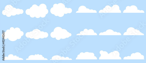 Obraz Clouds, large set of clouds isolated on a light blue background. Vector, cartoon illustration. Vector. - fototapety do salonu