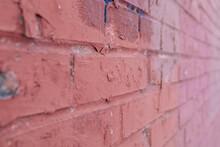 Red Brick Wall Close Up, Blur
