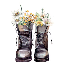 Watercolor Boots With Flowers Illustrations.