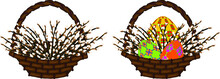 Wicker Basket With Willow Branches And Colorful Eggs For The Easter Holiday