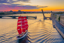 Saint Petersburg. Russia. Ship With Scarlet Sails On The Neva River Close-up. Rivers Of Petersburg. Bridges Of Petersburg. Divorce Bridges. Holiday Scarlet Sails. White Night. View Of The Evening City