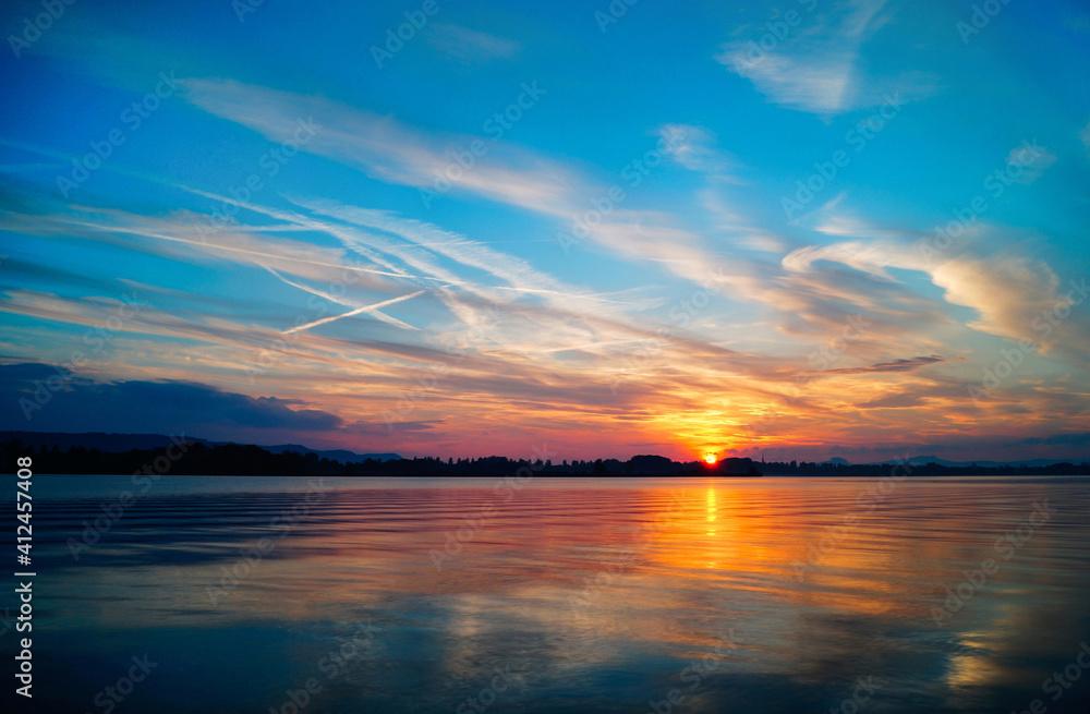Fototapeta Sunset With Beautiful Cloud Mood Lake Constance
