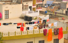 Clothes Hanging In Rooftops For Drying In Jaipur, India.