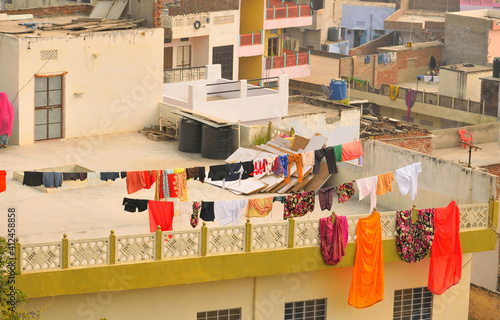 Fototapety, obrazy: Clothes hanging in rooftops for drying in Jaipur, India.