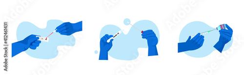 Fototapeta set doctors or scientists hands holding covid-19 nasal swab laboratory test coronavirus pandemic concept horizontal vector illustration obraz