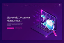 Electronic Document Management Banner. Online Paperwork Storage, Digital System Of Organization And Find Docs. Vector Landing Page Of Manage Business Papers With Isometric Laptop And Magnifier