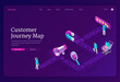 Customer journey map isometric landing page. Process of shopper purchasing decision, buyer moving by specified route awareness, interest, purchase, retention and advocacy, 3d vector web banner