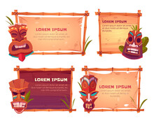 Bamboo Frames With Tiki Masks. Vector Cartoon Set Of Beach Sign Boards With Bamboo Sticks, Old Canvas Or Paper, Tropical Leaves And Wooden Hawaiian Tribal Totems