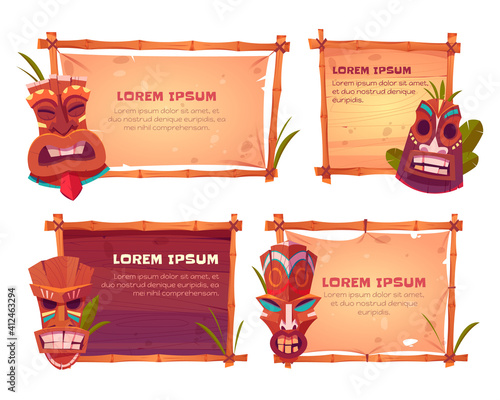 Fototapeta Bamboo frames with tiki masks. Vector cartoon set of beach sign boards with bamboo sticks, old canvas or paper, tropical leaves and wooden hawaiian tribal totems obraz